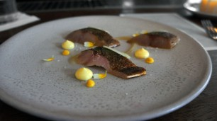 Flamed Cornish mackerel
